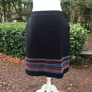 Brooks Brothers navy embroidered skirt